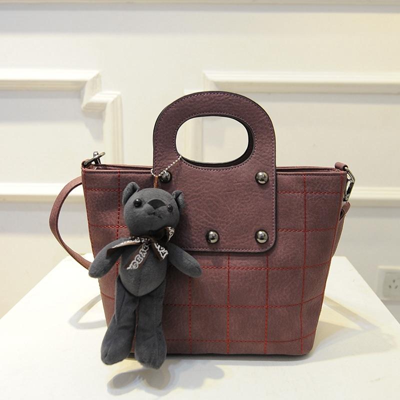 Leather Bucket Bag Rivet Decoration Handbags With Bear Toy New Women Fashion 2016 Totes Designers Diamond Shoulder Bags Lattice<br><br>Aliexpress