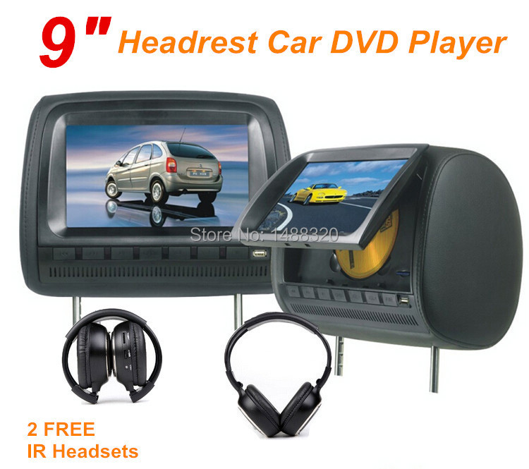 "Black 2x9"" Headrest Monitor Car DVD Player DVD Automotivo with LED Digital Screen GAME USB SD FM IR + FREE BLACK 2xIR Headsets(China (Mainland))"
