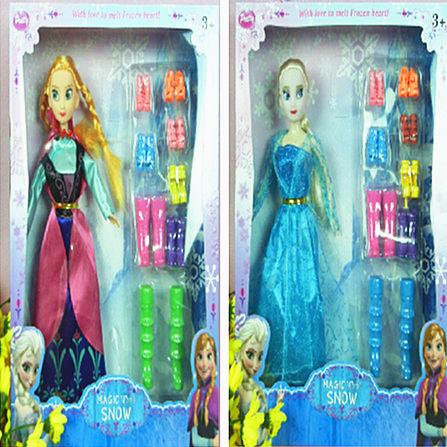 2015 new elsa and anna 30cm dolls .2 pcs a set cartoon 11.5 inch dolls for christmas halloween chirdren gift(China (Mainland))
