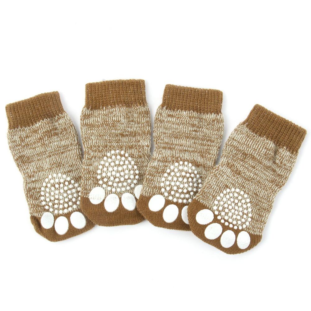Pet Dog Puppy Warm Knit Cozy Indoor Anti Slip Dog Boots Socks 4 Sizes(China (Mainland))
