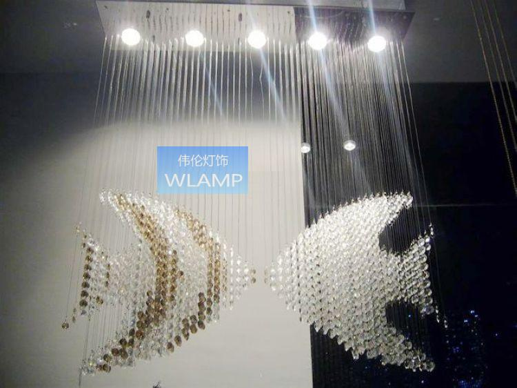 Modern brief fish restaurant lamp crystal pendant lamp bar partition living room lamps curtain(China (Mainland))