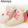 Akexiya 2017 Autumn Winter Ankle Boots Women Winter Shoes Flat Heel Casual Cute Warm Shoes Women