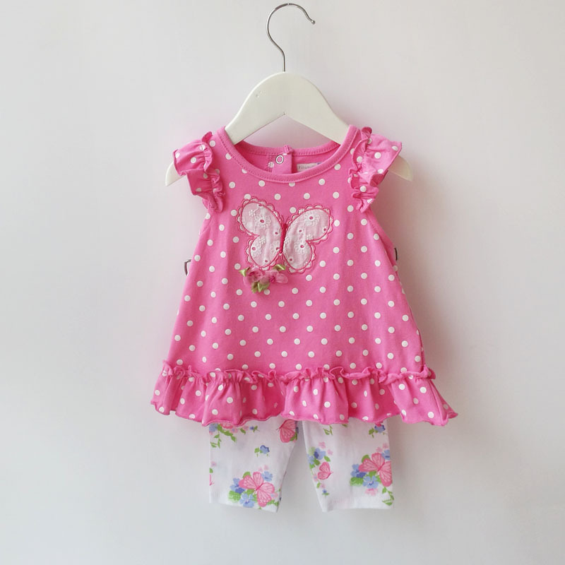Baby Girl Summer Clothing Sets Kids Girls 2-Piece Polka Dot T-shirt & Butterfly Capri Pant Suit Infantil Baby Outfit Clothing(China (Mainland))