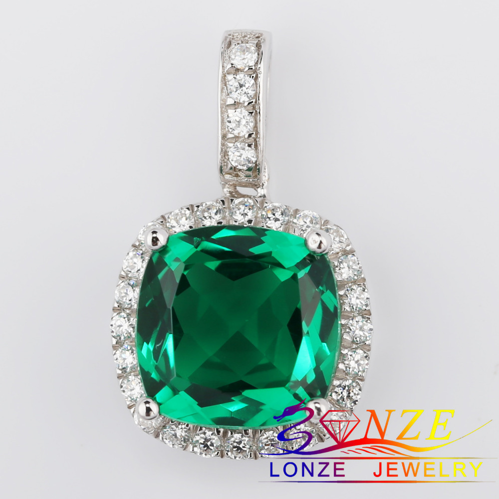Gemstone Emerald Pendant 3ct Cushion Cut Green Synthetic Corundum Necklace Pendant Simulated Diamond Plate Gold Sterling Silver<br><br>Aliexpress