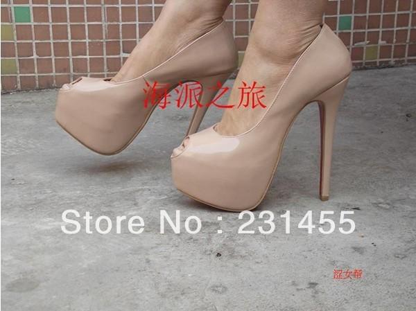 new arrive high heels wedding shoes bridal shoes platform pump leather pump 16cm Highness nude pumps red sole shoes