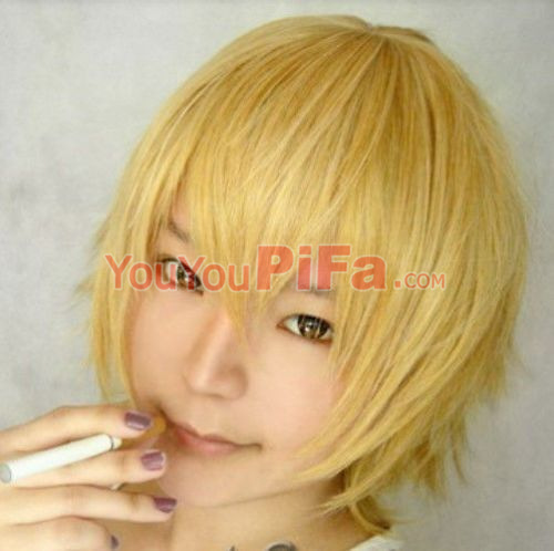 Yellow Harajuku Perruque Anime Tokyo Ghoul Wig Cheap Cosplay Short Straight Short Hair Synthetic Wigs for Party Halloween Peruca
