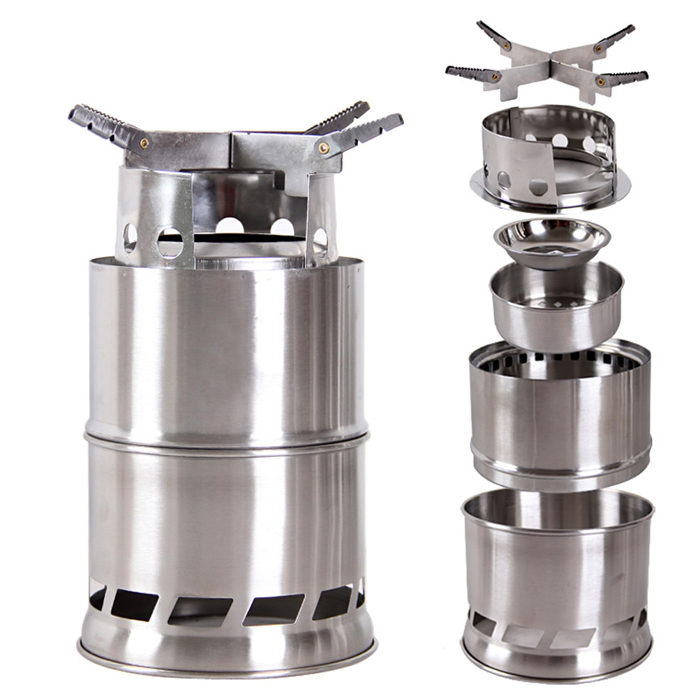 Portable stainless steel lightweight wood stove solidified