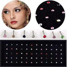 60/40 pcs pack Crystal Rhinestone Bulk Bone Straight Stud Bar Piercing Nose Ring 2 Colors 2015 Hot Sell(China (Mainland))
