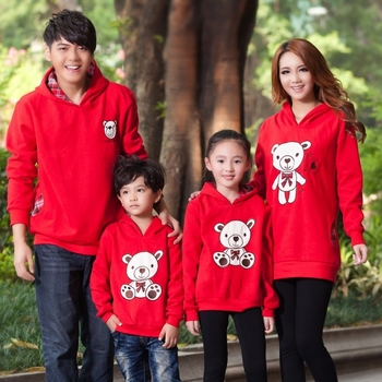 Family fashion 2013 spring and autumn family set mother and child clothes for mother and daughter family pack sweatshirt red