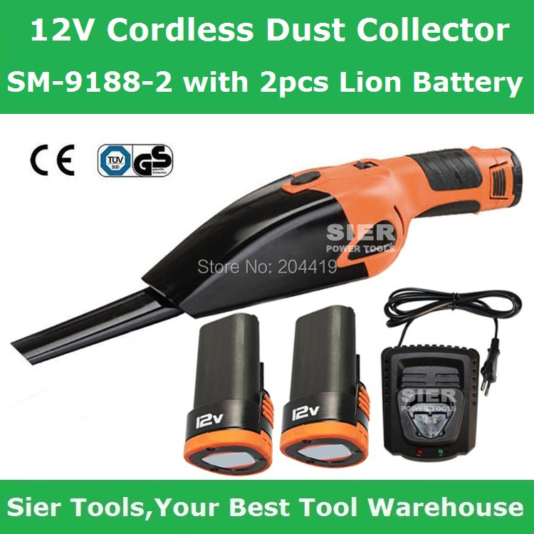 Free Shipping!/12V Cordless Dust Collector/SM-9188-2 with 2pcs Lion Battery/Sier Portable Vacuum Cleaner/Mini Vacuum Cleaner(China (Mainland))