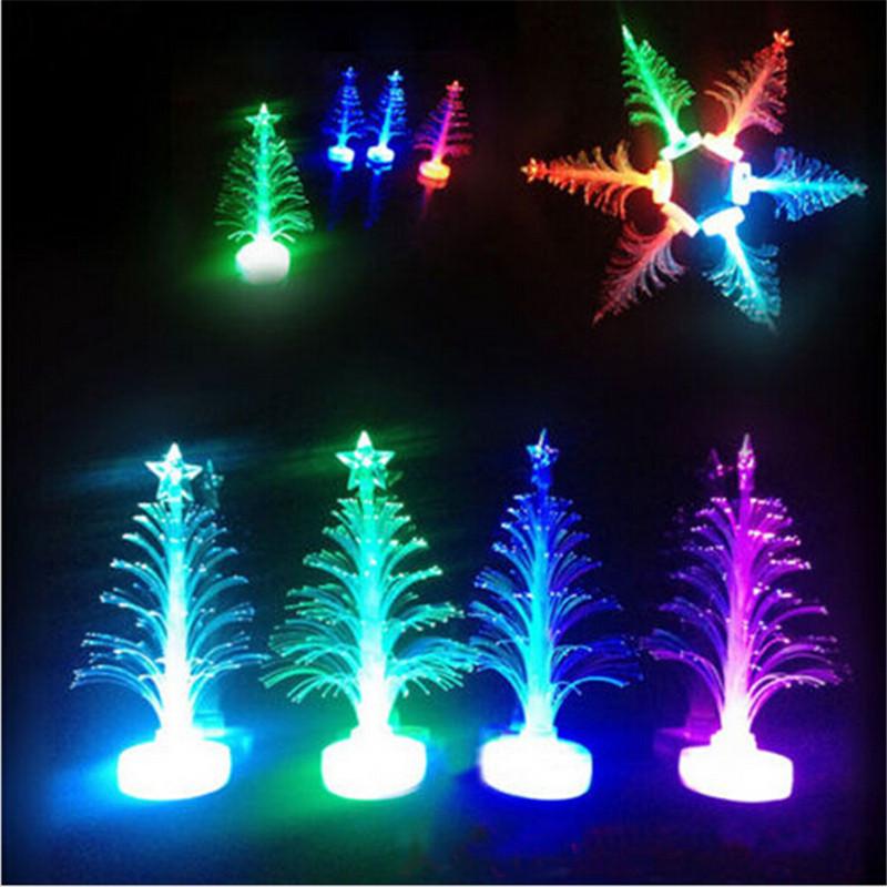 5pcs/lot Colorful LED Fiber Optic Nightlight flashing Christmas Tree Lamp Light up toys Children Xmas Gift decoration supplies(China (Mainland))