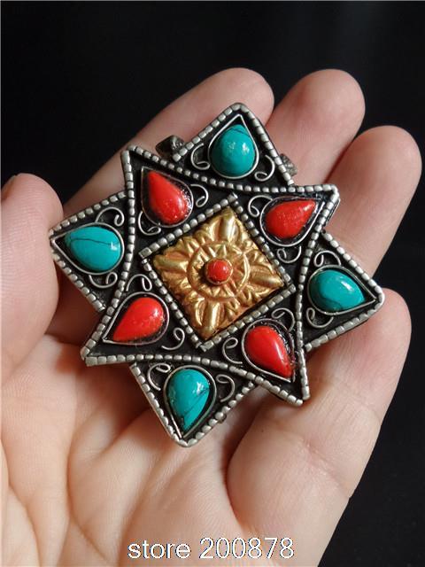 TGB229 Tibetan silver Antiqued Buddhist Prayer box Tibet vintage Gau star amulet pendant,Nepal crafts(China (Mainland))
