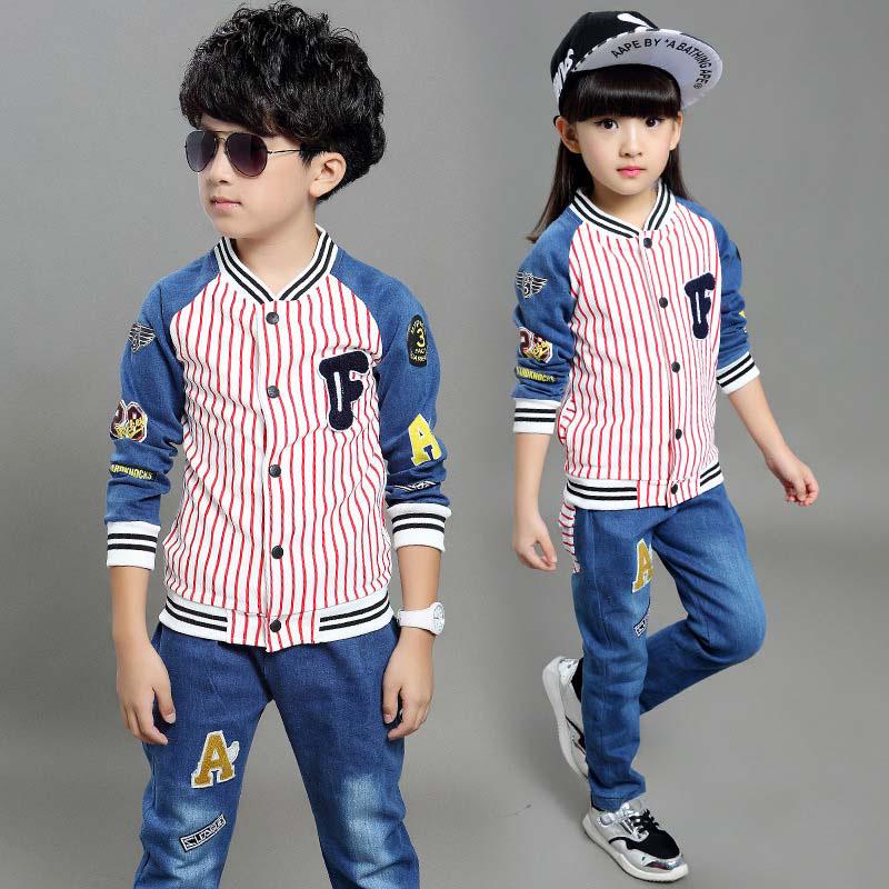 Kid Denim Patchwork Sets Long Sleeve Boy Striped Coat And Pants Boys And Girls 2Pcs Set Warm Winter Unisex Designer Cloth Set(China (Mainland))