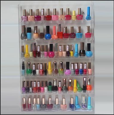 fashion Clear 102 Bottles Nail Polish Organizer 6 Layers Shelf Storage Wall mounted Display rack 866-6  -  Ya Han acrylic products store