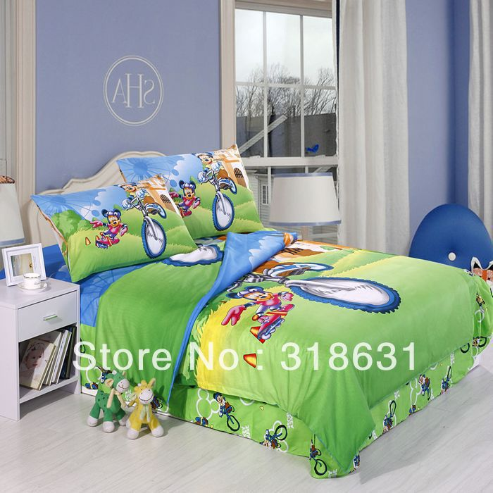 Bicycle Mickey Mouse Bedding Sets Room Essentials for Children Pure Cotton Duvet Doona Cover Set 3Piece for Single Bed,Green(China (Mainland))