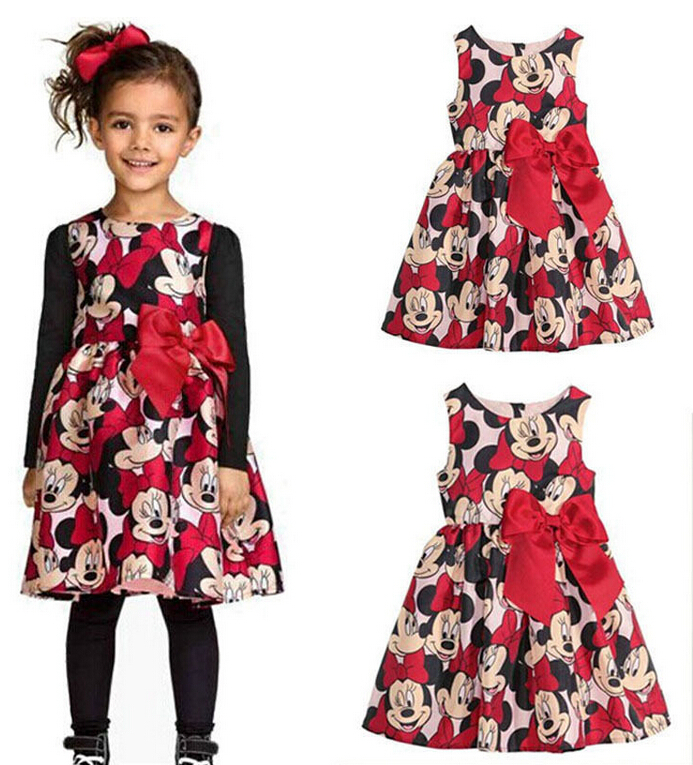 Free Shipping Summer Baby Girls Minnie Mouse Bow Strapless Sundress Vest Dress Infant Toddler Kids Children's One-Piece Dress(China (Mainland))