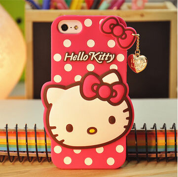3D Cute Hello Kitty Silicon Case For Apple Iphone 6p Case With Pendant For Iphone 6 plus 5.5Inch Bowknot KT Cat Case Free Ship(China (Mainland))