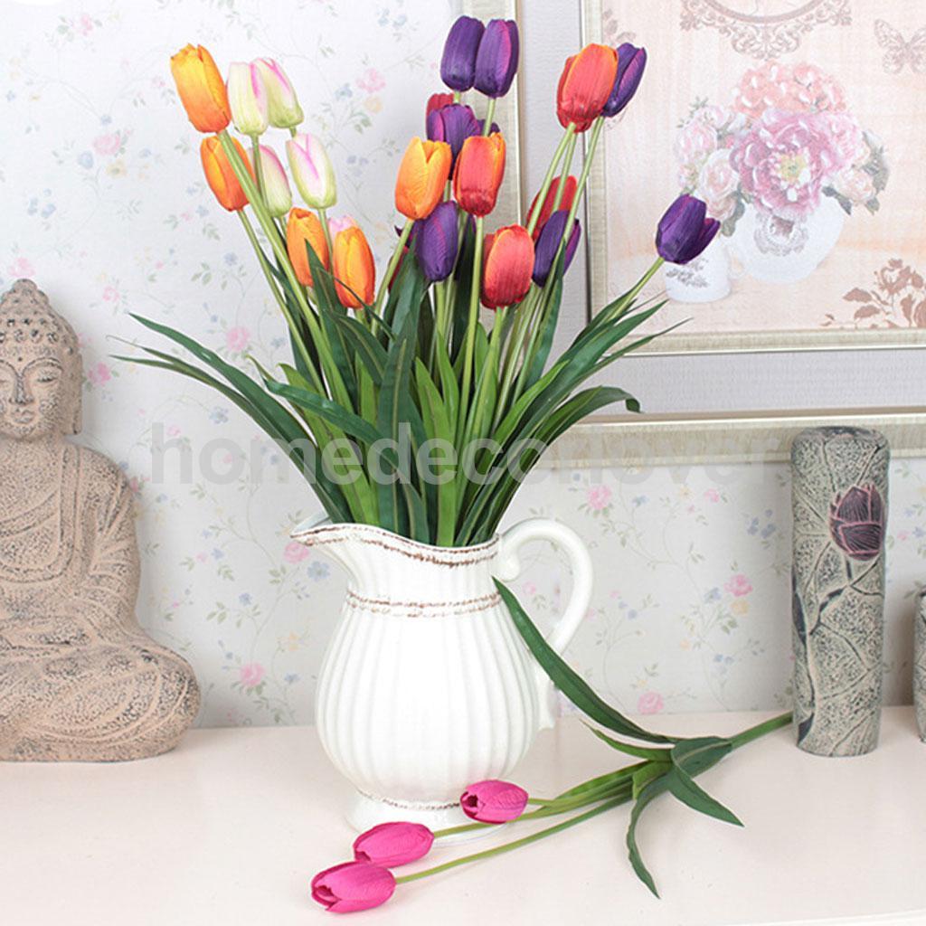 5Pcs 3-Head Artificial Silk Tulip Orchid Wedding Office Garden Decor(China (Mainland))