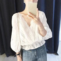 Autumn Solid Color Women blouse Femme cotton tops white v neck loose Ladies Shirts lantern sleeve
