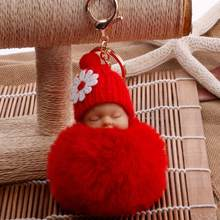 Bonito Pequena Flor Do Bebê Boneca Falso Fur Fluffy Bola Chave Saco Cadeia Chaveiro Chave Anéis Pingente de Chave Do Carro Dos Desenhos Animados Ornamentos presentes(China)
