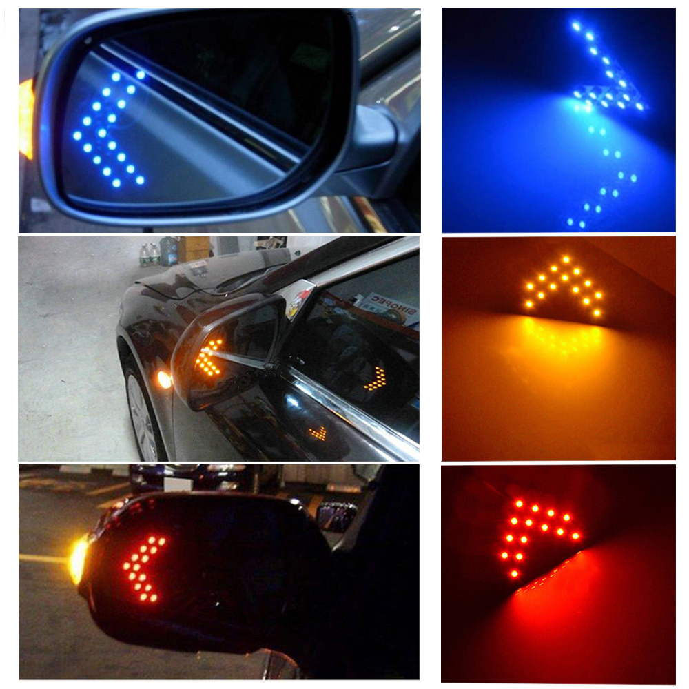 Durable Safety 2Pcs 14-SMD LED Yellow/Red/Blue Arrow Panels Cars Truck Side Mirror Turn Signal Bright Indicator Lights Stylish(China (Mainland))
