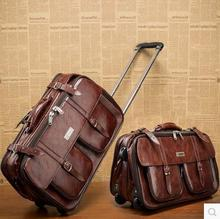 17'' Brown Business Leather Trolley Luggage Vintage Suitcase Board Chassis Bag Travel Bags For Men and Women Specials(China (Mainland))