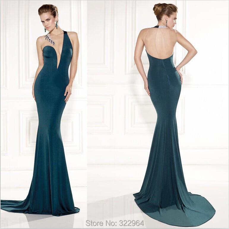 Dark Green Sheer O neck Tarik Ediz 2015 Mermaid Chiffon ...