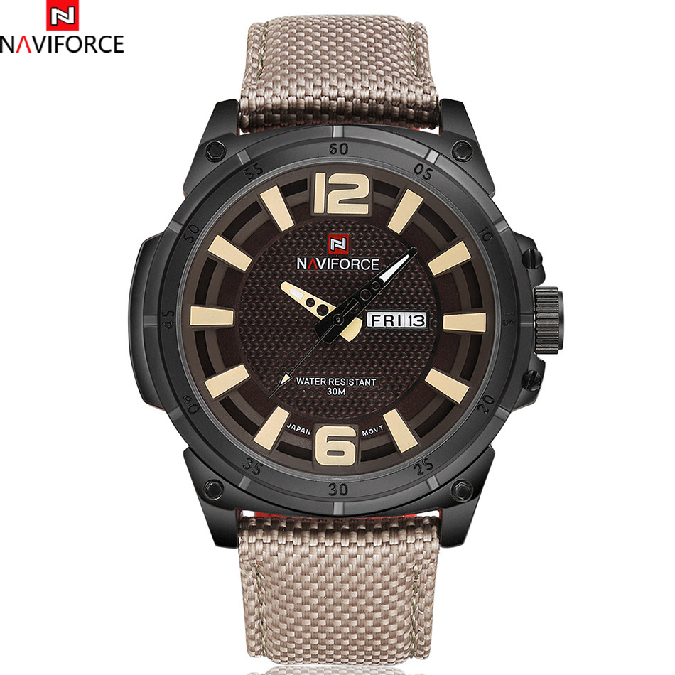 NAVIFORCE Brand Men Fashion Sports Watches Mens Quartz Hour 3D Dial Date Clock Man Nylon Strap Army Military Water Wrist Watch<br><br>Aliexpress