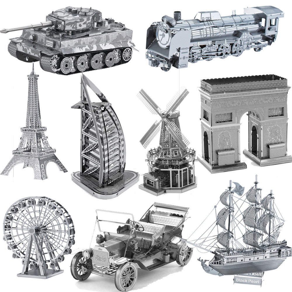 3D Puzzle Metal Earth 3D Laser Cut Model 3D Jigsaws Puzzels Cartoon Robot Steamship Helicopter Wing Fighter Child DIY Toys Gift(China (Mainland))