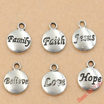 12pcs Tibetan Silver Tone Family Jesus Round Alphabet Charms Pendants 11.5x15.5mm Jewelry Diy