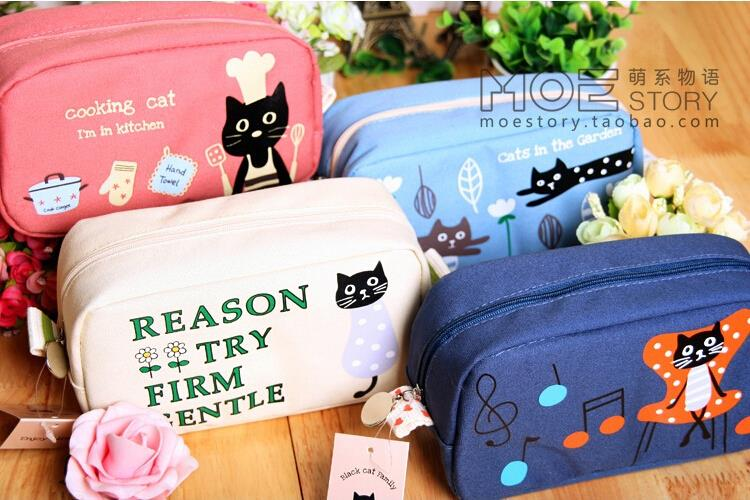 large capacity cat style canvas pencil bag pencil case children school pencil bag cosmetic bags 4 colors Free Shipping(China (Mainland))