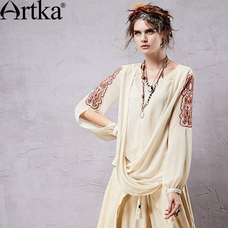 Artka Women's Retro Chiffon Blouses Ethnic Embroidery & Hollow Out Sleeve Design Fashion Woman Beige Shirts SA14350X PRESELL(China (Mainland))