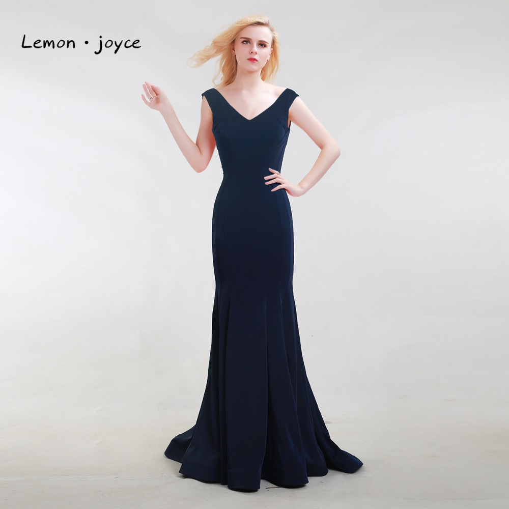 Dark Blue Prom Dresses Long 2017 New Style V-Neck with Sleeveless Sexy Backless Simple Party Gowns Special Occasion Dresses(China (Mainland))