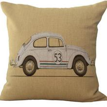 Cartoon Animation Automobile Cotton Linen Throw Pillow