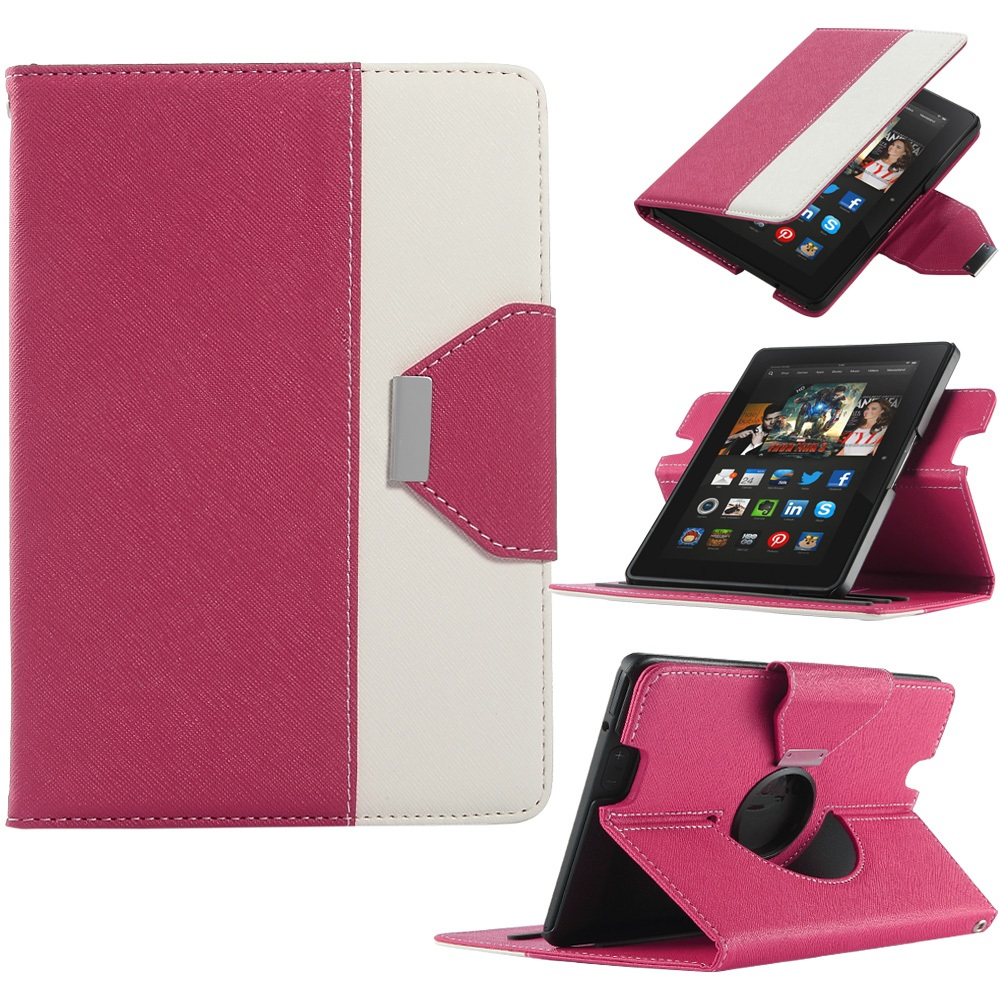 For Amazon Kindle Fire HDX 7 Case(2013),ULAK PU Leather Dual Color 360 Rotating Case with Smart Cover Auto Wake/Sleep Feature(China (Mainland))