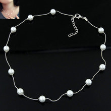 New Brand Statement Choker Fashion Charms Boutique Concise Collar Sweet Pearl Chain Women Necklaces&Pendants Fine Jewelry A111(China (Mainland))