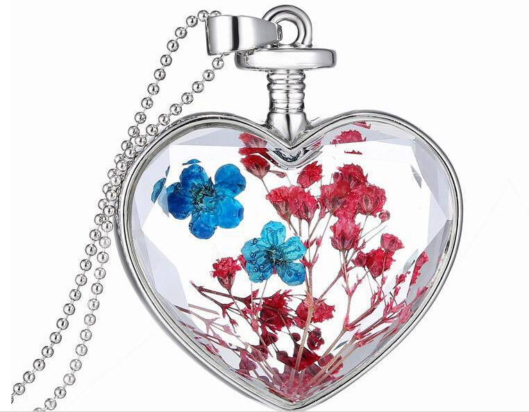 Newest Korea Style Pendant Necklace Jewelry Creative Peach Heart necklace silver Dry Flower Necklace YPQ0160(China (Mainland))