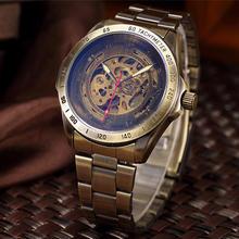 メンズ腕時計スケルトン自動機械式時計男性トップブランドの高級レトロブロンズスポーツ腕時計レロジオ Masculino(China)