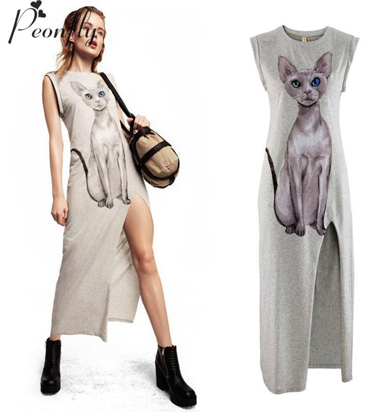 2016 Women Summer Sexy Casual Long Beach Dress Vest Blue-eyed cat sided printing high slits, light gray dress(China (Mainland))