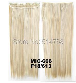 s Straight clip synthetic hair Slice hairpiece 5 clips hairpieces extension 24inches,100grams - Yiwu Will Fashion Shop store