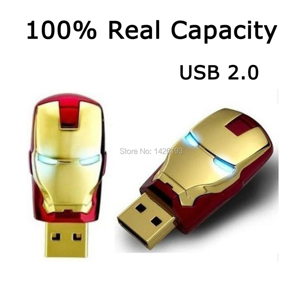 2015 Hot Sale Iron Man USB Flash Drive Pen Drive Crystal Diamond PenDrive 4GB 8GB 16GB 32GB 64GB USB 2.0 Mmeory Stick U Disk(China (Mainland))