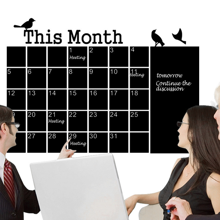 DIY Monthly chalkboard calendar Vinyl Wall Decal Removable Planner mural wallpaper home Decor Office Decal Sticker PVC wallpaper(China (Mainland))