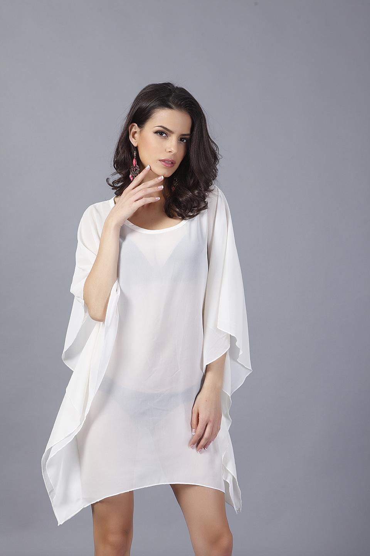 2015 Vestido selling simple loose big yards bat sleeve sexy white holiday dress wholesale(China (Mainland))