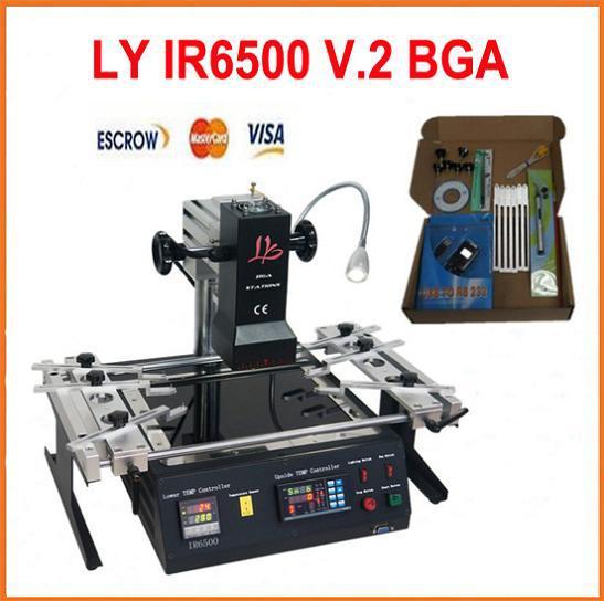 Free Shipping, Infrared BGA Rework Station chip reballing machine LY IR6500 V.2, bigger preheat area 240*200mm, PCB jigs 6 pcs(China (Mainland))