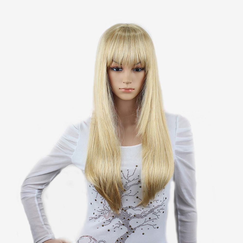 Long Platinum Blonde Wig With Bangs Women Platinum Blonde Wig