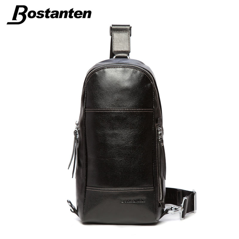 Bostanten 2015 Men's Chest Cowhide Genuine Leather Pack Korean Casual First Layer Cow Leather Messenger Bag Large Capacity Bags(China (Mainland))