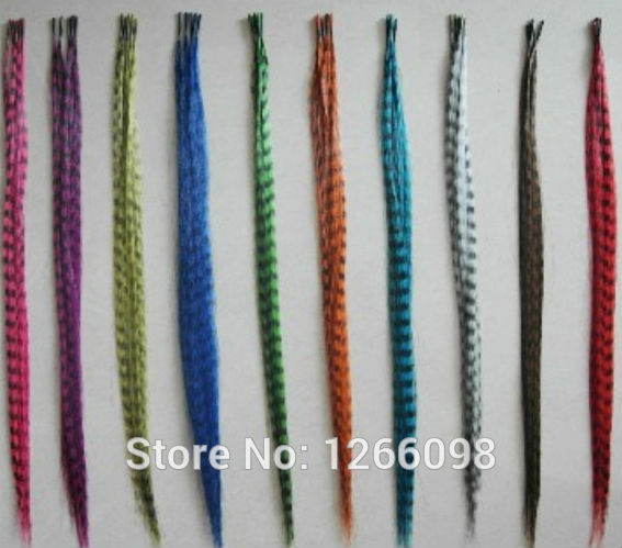 """60pcs high quality Feather Hair Extensions 16"""" long straight hair piece 12 colors available fake hair With Beads & Hook"""