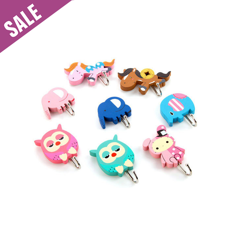 8Pc/lot Cute Kids Wood Bath Towel Hook,Strong adhesive Bathroom Towel Hooks for children,wall decorative towel hooks / hanger(China (Mainland))