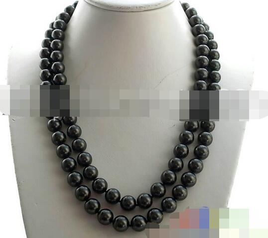 song voge gem nanJ2448 INKY BLACK ROUND SOUTHSEA SHELL PEARL NECKLACE(China (Mainland))