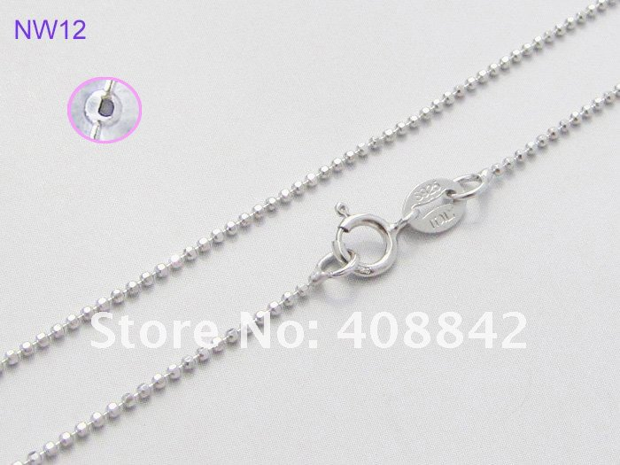 "Free shipping 1mm 18"" 925 Sterling Silver Ball Necklaces Jewelry NW12 Facets Beads Chain Rhodium Plated Oxidation Resistance(China (Mainland))"